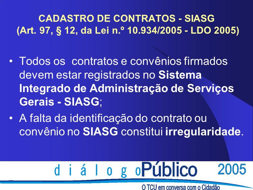 CADASTRO DE CONTRATOS - SIASG (Art.