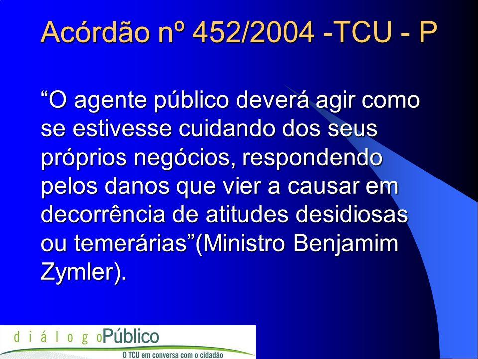Acórdão nº 452/2004 -TCU - P O agente público deverá agir como se estivesse cuidando dos seus próprios negócios, respondendo pelos danos que vier a ca