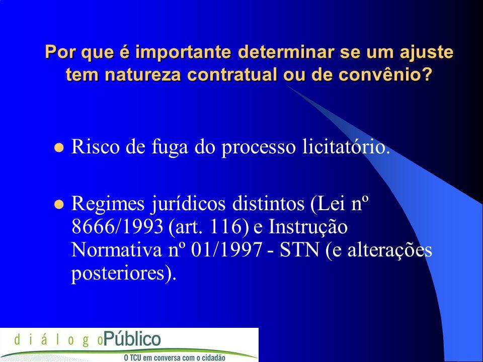 Por que é importante determinar se um ajuste tem natureza contratual ou de convênio? Risco de fuga do processo licitatório. Regimes jurídicos distinto