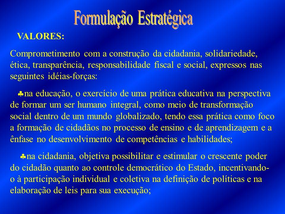 VALORES: Comprometimento com a construção da cidadania, solidariedade, ética, transparência, responsabilidade fiscal e social, expressos nas seguintes