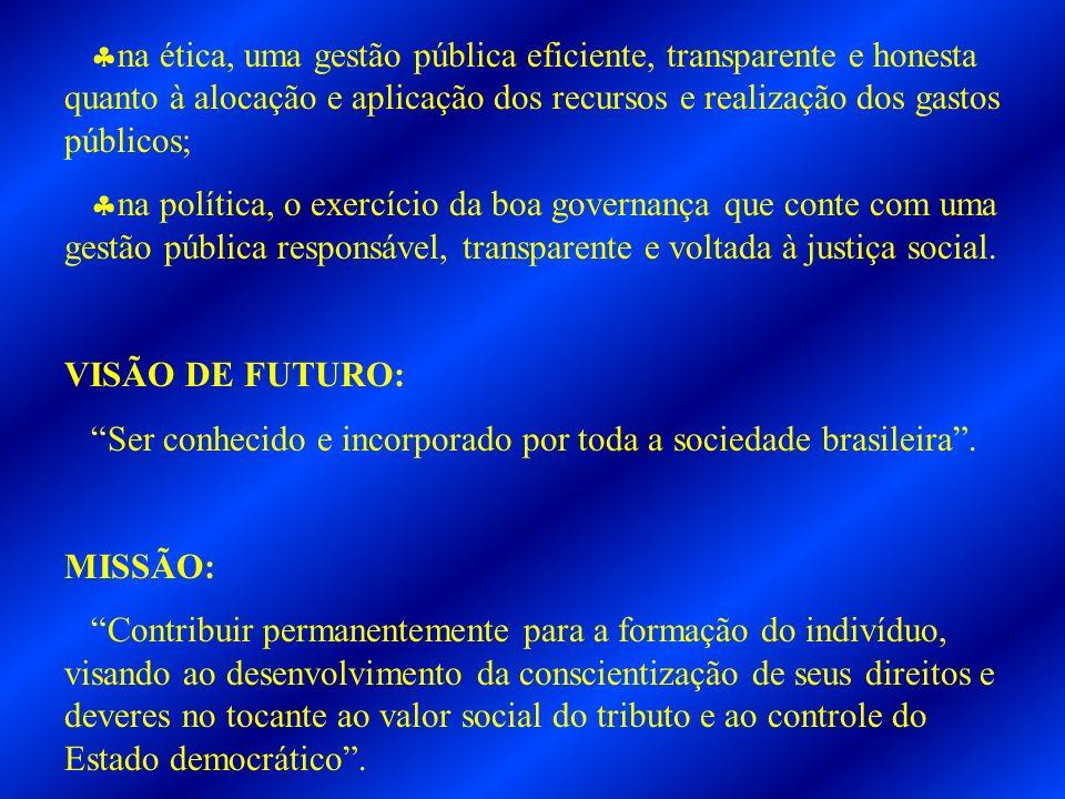 na ética, uma gestão pública eficiente, transparente e honesta quanto à alocação e aplicação dos recursos e realização dos gastos públicos; na polític
