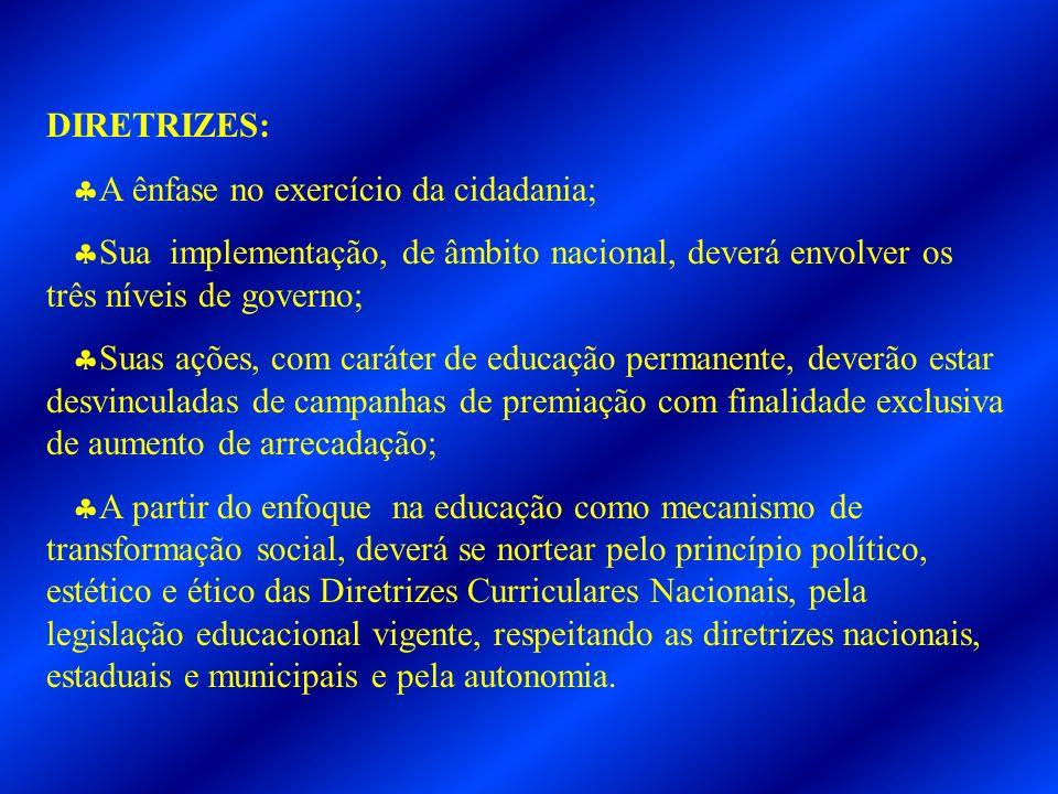 DIRETRIZES: A ênfase no exercício da cidadania; Sua implementação, de âmbito nacional, deverá envolver os três níveis de governo; Suas ações, com cará