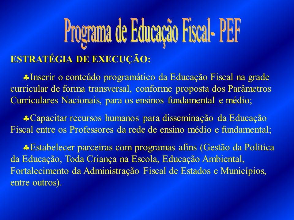 ESTRATÉGIA DE EXECUÇÃO: Inserir o conteúdo programático da Educação Fiscal na grade curricular de forma transversal, conforme proposta dos Parâmetros