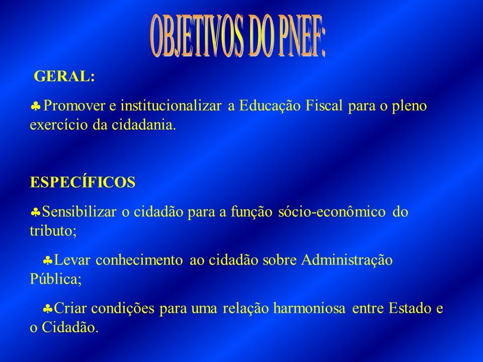 1996/Maio- O Conselho Nacional de Política Fazendária- CONFAZ, foi registrado a importância da criação de um programa de conscientização tributária; 1996/Setembro- A implantação do Programa de Conscientização Tributária faz parte do Convênio de Cooperação Técnica entre a União, os Estados e o Distrito Federal; 1997- Instituição do Programa Nacional de Educação Tributária; 1999- Alteração da denominação para Programa Nacional de Educação Fiscal- PNEF, cuja gestão, atribuição e competências encontram-se delineada na Portaria Interministerial (MF e MEC) nº413, de 31/12/2002.