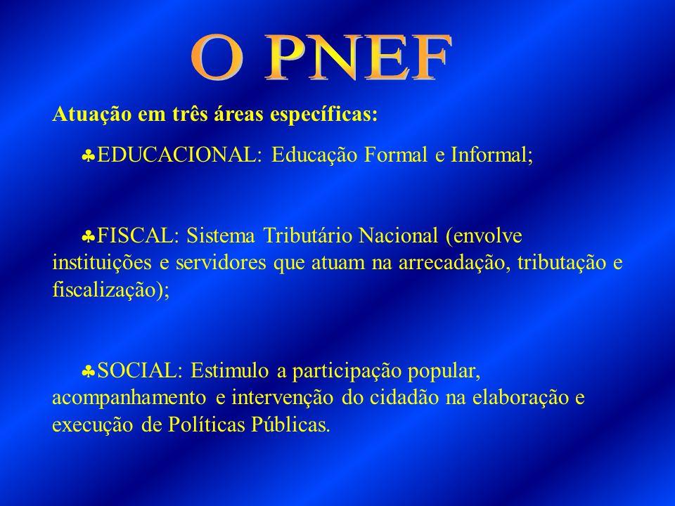 Atuação em três áreas específicas: EDUCACIONAL: Educação Formal e Informal; FISCAL: Sistema Tributário Nacional (envolve instituições e servidores que
