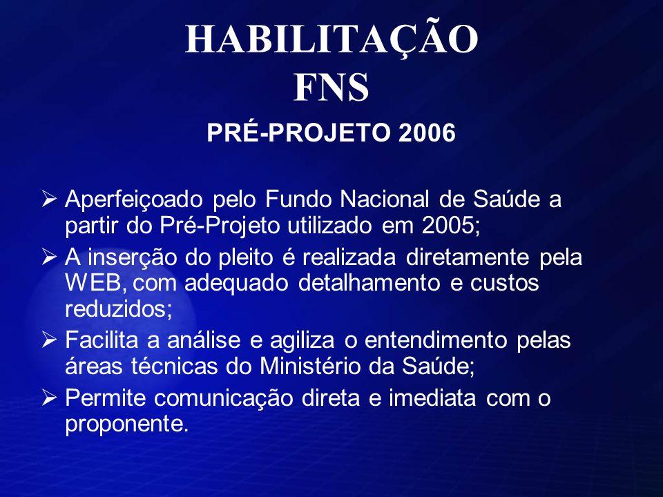 HABILITAÇÃO FNS PRÉ-PROJETO 2006 Aperfeiçoado pelo Fundo Nacional de Saúde a partir do Pré-Projeto utilizado em 2005; A inserção do pleito é realizada