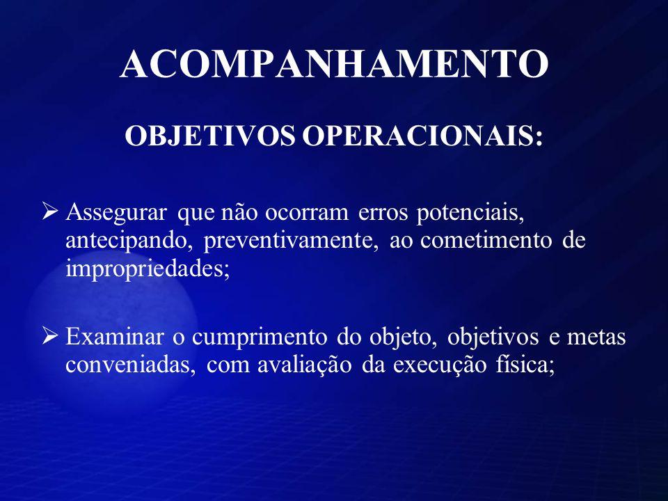 ACOMPANHAMENTO OBJETIVOS OPERACIONAIS: Assegurar que não ocorram erros potenciais, antecipando, preventivamente, ao cometimento de impropriedades; Exa
