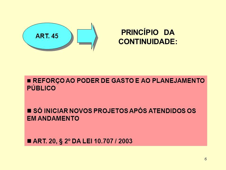 6 PRINCÍPIO DA CONTINUIDADE: ART.