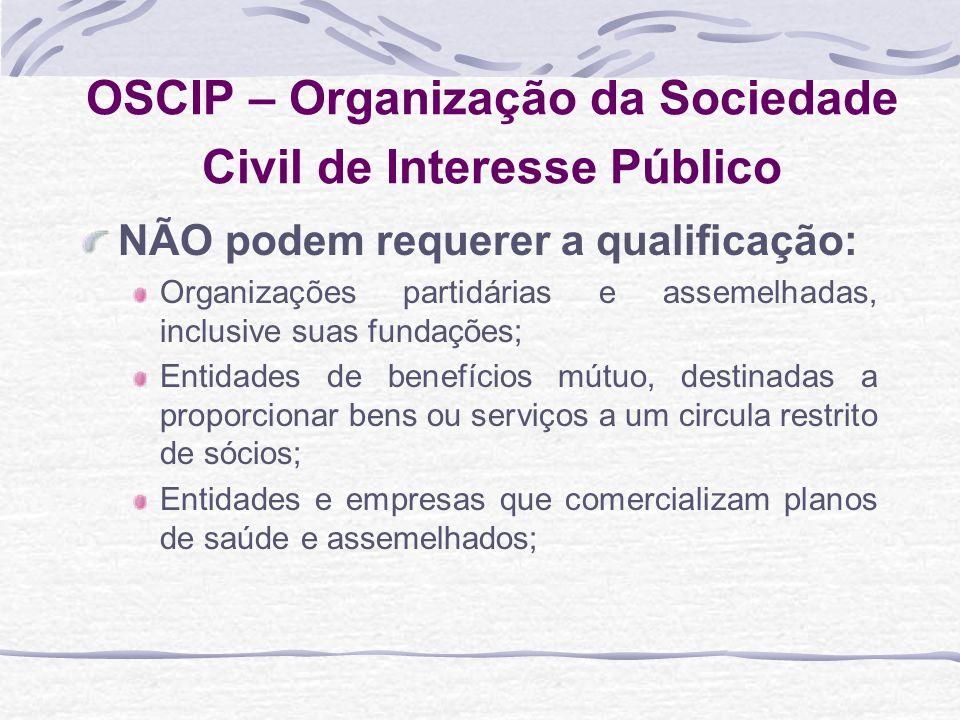 OSCIP – Organização da Sociedade Civil de Interesse Público NÃO podem requerer a qualificação: Organizações partidárias e assemelhadas, inclusive suas