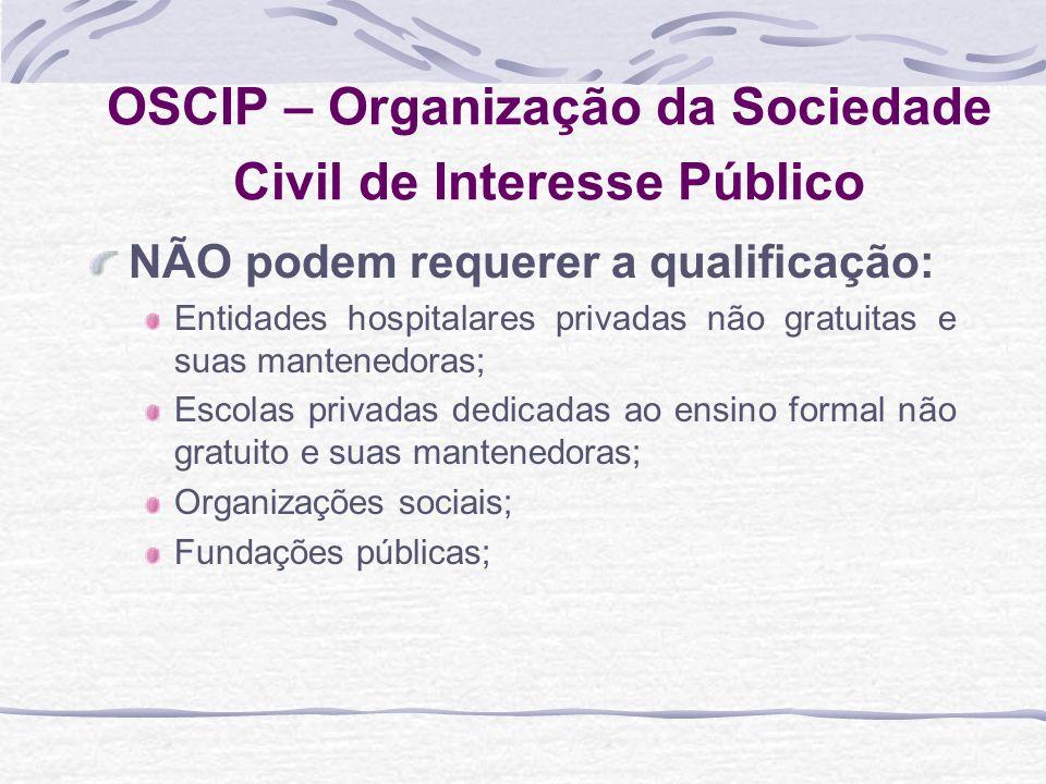 OSCIP – Organização da Sociedade Civil de Interesse Público NÃO podem requerer a qualificação: Entidades hospitalares privadas não gratuitas e suas ma