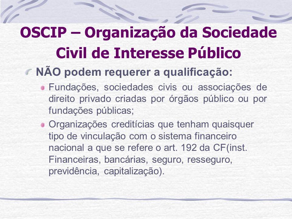 OSCIP – Organização da Sociedade Civil de Interesse Público NÃO podem requerer a qualificação: Fundações, sociedades civis ou associações de direito p