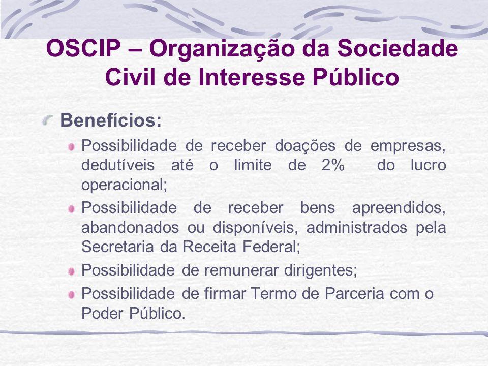 OSCIP – Organização da Sociedade Civil de Interesse Público Benefícios: Possibilidade de receber doações de empresas, dedutíveis até o limite de 2% do