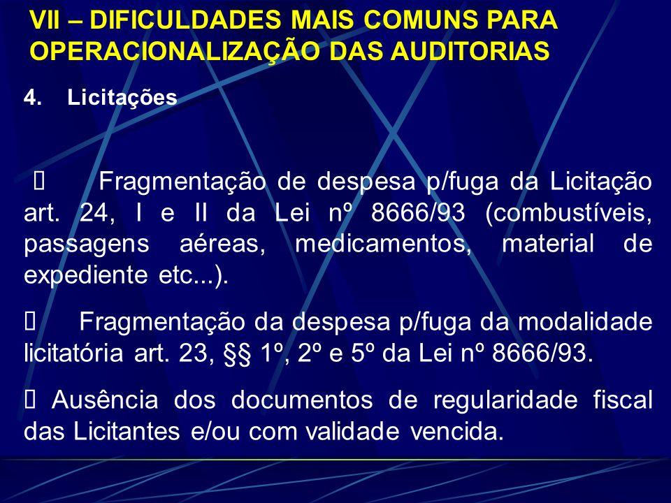 4. Licitações Fragmentação de despesa p/fuga da Licitação art. 24, I e II da Lei nº 8666/93 (combustíveis, passagens aéreas, medicamentos, material de