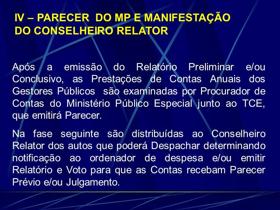 IV – PARECER DO MP E MANIFESTAÇÃO DO CONSELHEIRO RELATOR Após a emissão do Relatório Preliminar e/ou Conclusivo, as Prestações de Contas Anuais dos Ge