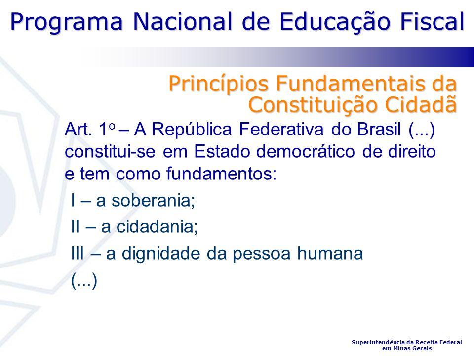 Programa Nacional de Educação Fiscal Superintendência da Receita Federal em Minas Gerais Princípios Fundamentais da Constituição Cidadã Art. 1 o – A R