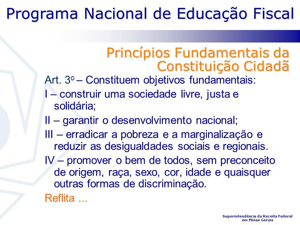 Programa Nacional de Educação Fiscal Superintendência da Receita Federal em Minas Gerais Princípios Fundamentais da Constituição Cidadã Art. 3 o – Con