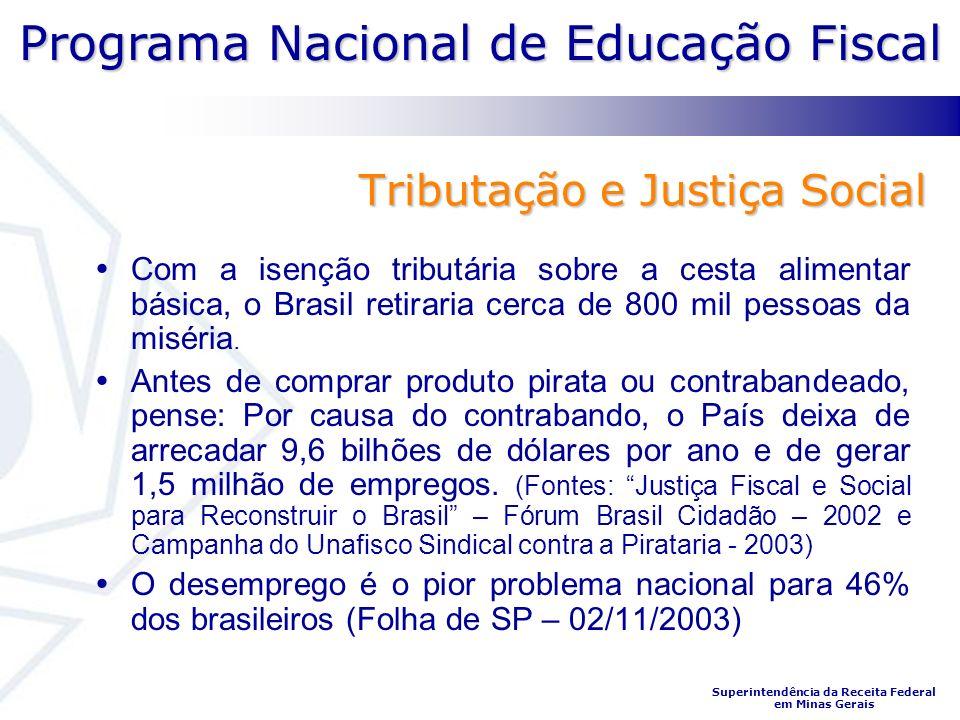 Programa Nacional de Educação Fiscal Superintendência da Receita Federal em Minas Gerais Tributação e Justiça Social Com a isenção tributária sobre a cesta alimentar básica, o Brasil retiraria cerca de 800 mil pessoas da miséria.
