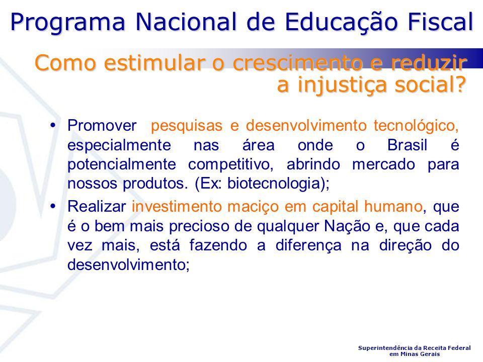 Programa Nacional de Educação Fiscal Superintendência da Receita Federal em Minas Gerais Promover pesquisas e desenvolvimento tecnológico, especialmente nas área onde o Brasil é potencialmente competitivo, abrindo mercado para nossos produtos.