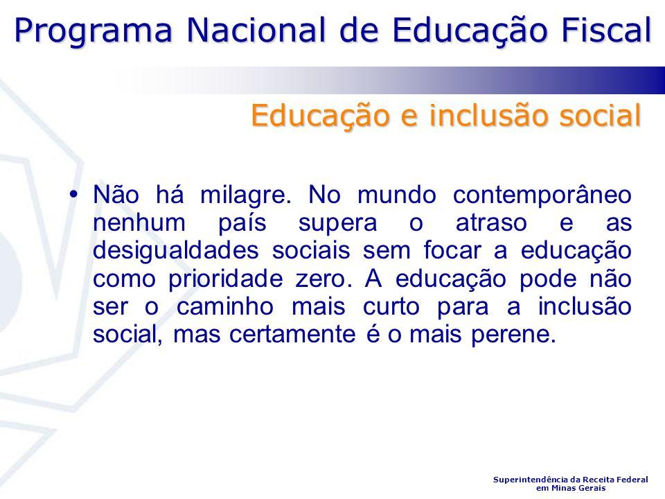 Programa Nacional de Educação Fiscal Superintendência da Receita Federal em Minas Gerais Não há milagre. No mundo contemporâneo nenhum país supera o a