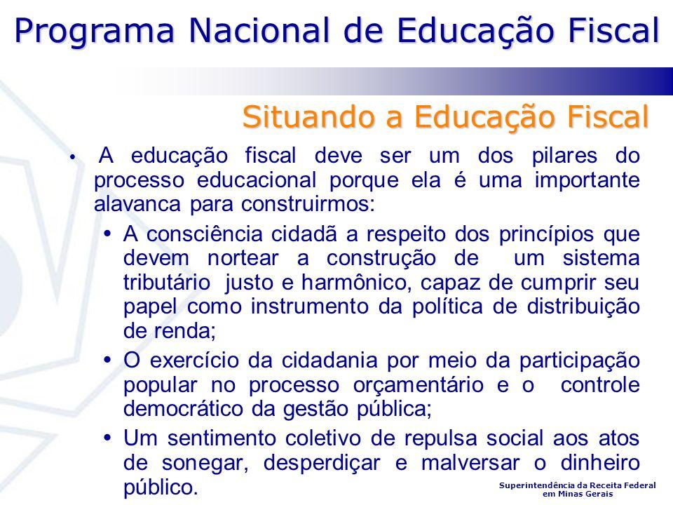 Programa Nacional de Educação Fiscal Superintendência da Receita Federal em Minas Gerais A educação fiscal deve ser um dos pilares do processo educaci