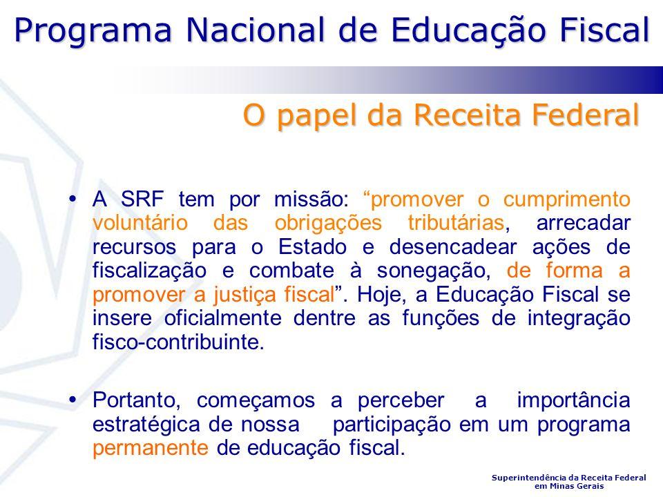 Programa Nacional de Educação Fiscal Superintendência da Receita Federal em Minas Gerais A SRF tem por missão: promover o cumprimento voluntário das o