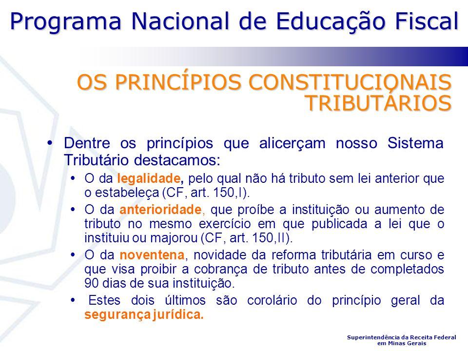 Programa Nacional de Educação Fiscal Superintendência da Receita Federal em Minas Gerais OS PRINCÍPIOS CONSTITUCIONAIS TRIBUTÁRIOS Dentre os princípio