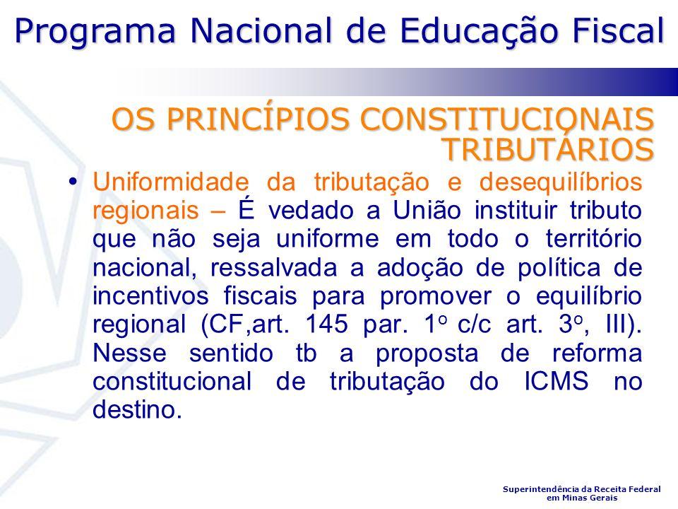 Programa Nacional de Educação Fiscal Superintendência da Receita Federal em Minas Gerais OS PRINCÍPIOS CONSTITUCIONAIS TRIBUTÁRIOS Uniformidade da tri