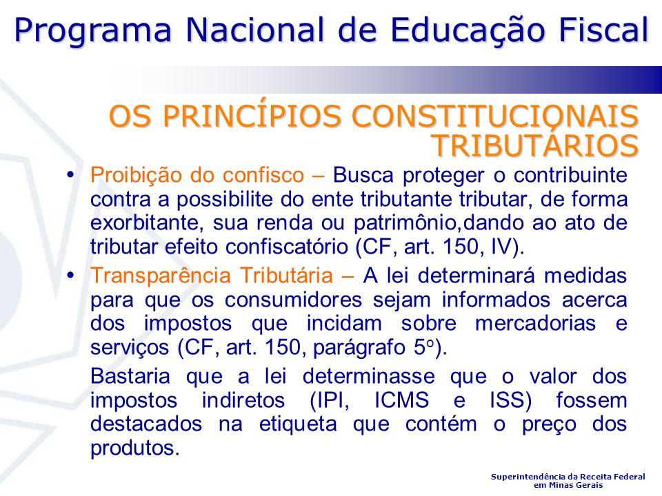 Programa Nacional de Educação Fiscal Superintendência da Receita Federal em Minas Gerais OS PRINCÍPIOS CONSTITUCIONAIS TRIBUTÁRIOS Proibição do confis