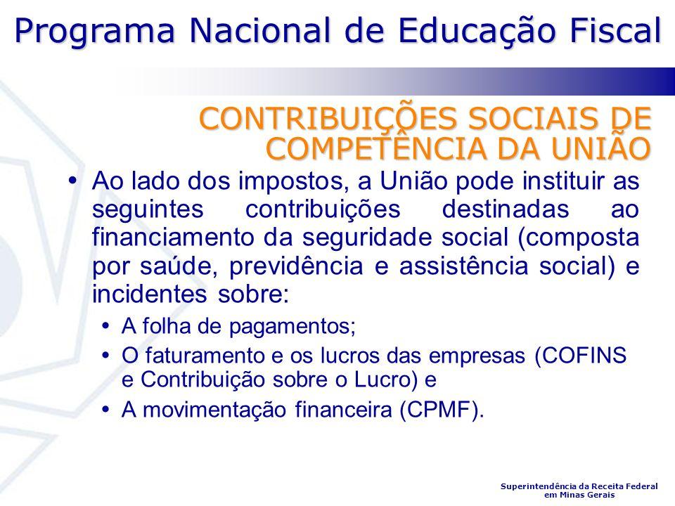 Programa Nacional de Educação Fiscal Superintendência da Receita Federal em Minas Gerais CONTRIBUIÇÕES SOCIAIS DE COMPETÊNCIA DA UNIÃO Ao lado dos imp
