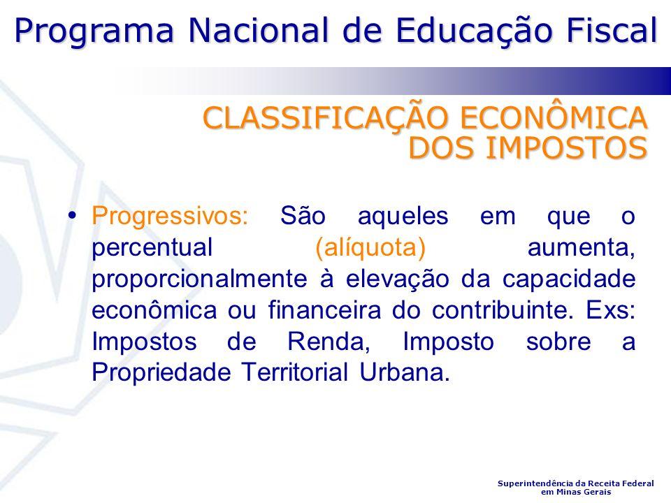 Programa Nacional de Educação Fiscal Superintendência da Receita Federal em Minas Gerais CLASSIFICAÇÃO ECONÔMICA DOS IMPOSTOS Progressivos: São aquele