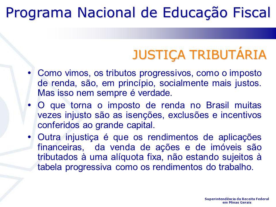 Programa Nacional de Educação Fiscal Superintendência da Receita Federal em Minas Gerais JUSTIÇA TRIBUTÁRIA Como vimos, os tributos progressivos, como o imposto de renda, são, em princípio, socialmente mais justos.