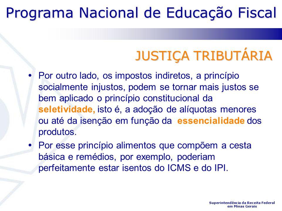 Programa Nacional de Educação Fiscal Superintendência da Receita Federal em Minas Gerais JUSTIÇA TRIBUTÁRIA Por outro lado, os impostos indiretos, a p