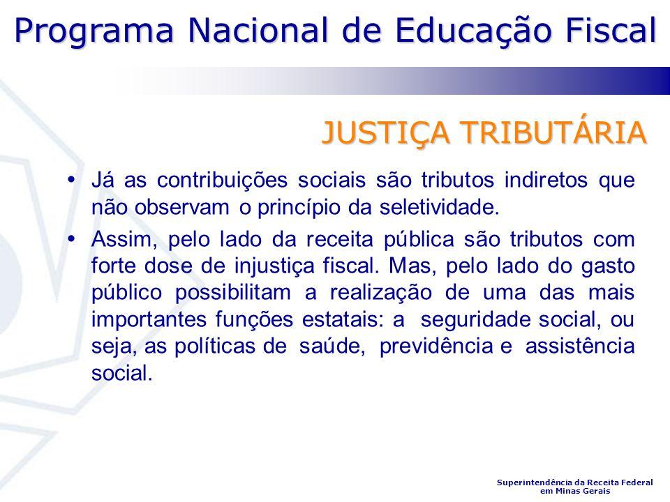 Programa Nacional de Educação Fiscal Superintendência da Receita Federal em Minas Gerais JUSTIÇA TRIBUTÁRIA Já as contribuições sociais são tributos indiretos que não observam o princípio da seletividade.