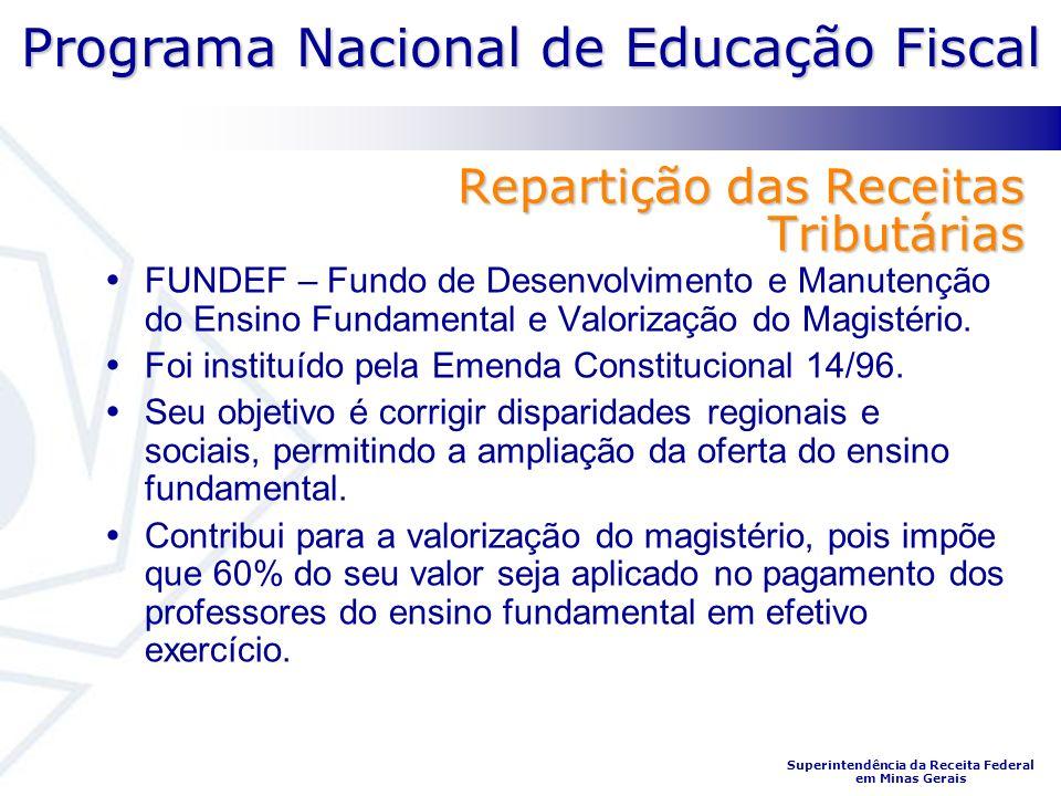 Programa Nacional de Educação Fiscal Superintendência da Receita Federal em Minas Gerais Repartição das Receitas Tributárias FUNDEF – Fundo de Desenvolvimento e Manutenção do Ensino Fundamental e Valorização do Magistério.