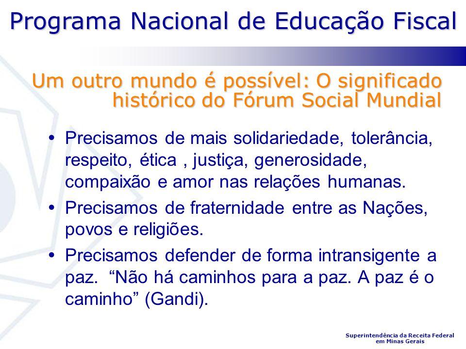Programa Nacional de Educação Fiscal Superintendência da Receita Federal em Minas Gerais Precisamos de mais solidariedade, tolerância, respeito, ética, justiça, generosidade, compaixão e amor nas relações humanas.