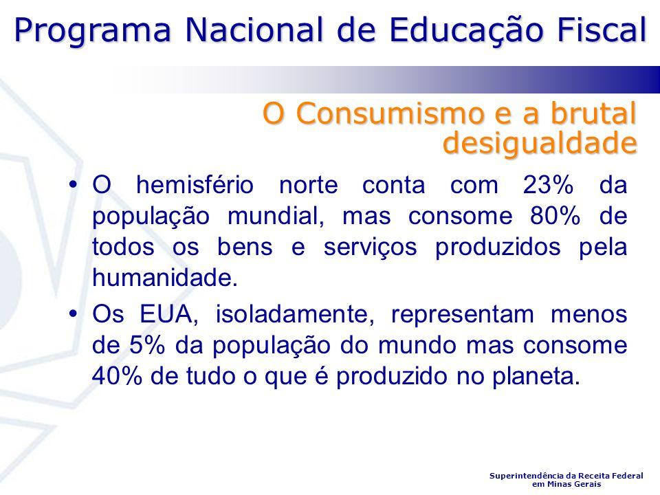 Programa Nacional de Educação Fiscal Superintendência da Receita Federal em Minas Gerais O hemisfério norte conta com 23% da população mundial, mas consome 80% de todos os bens e serviços produzidos pela humanidade.