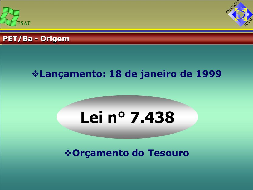 ESAF PET/Ba - Origem Lançamento: 18 de janeiro de 1999 Orçamento do Tesouro Lei n° 7.438