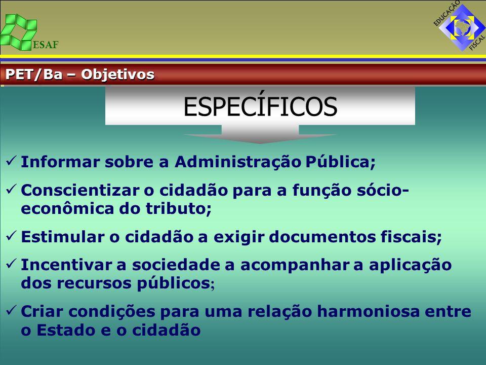 ESAF PET/Ba – Objetivos Informar sobre a Administração Pública; Conscientizar o cidadão para a função sócio- econômica do tributo; Estimular o cidadão