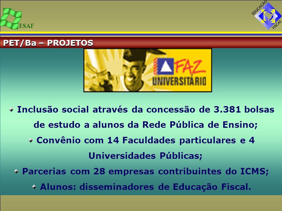 ESAF PET/Ba – PROJETOS Inclusão social através da concessão de 3.381 bolsas de estudo a alunos da Rede Pública de Ensino; Convênio com 14 Faculdades p