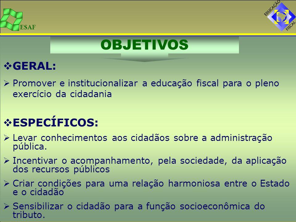 ESAF GERAL: Promover e institucionalizar a educação fiscal para o pleno exercício da cidadania ESPECÍFICOS: Levar conhecimentos aos cidadãos sobre a a