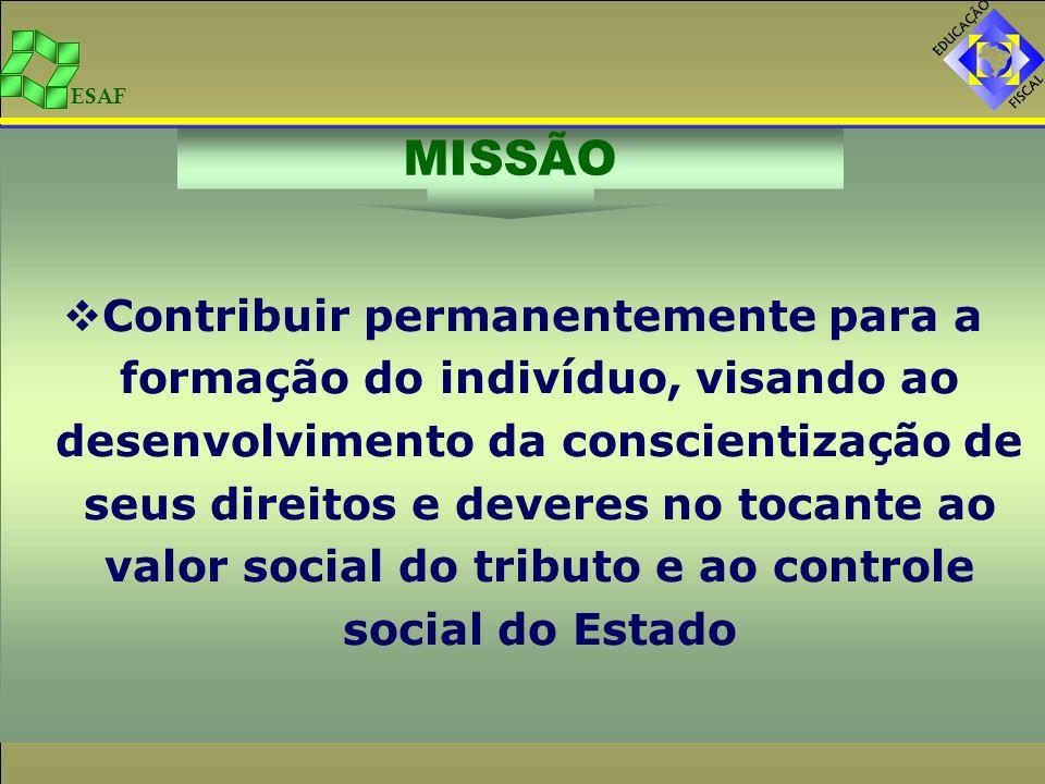ESAF PET/Ba – MÓDULO II – Escolas do Ensino Médio Contribuir na formação de novas gerações conscientes da importância dos tributos para os investimentos sociais do Estado.
