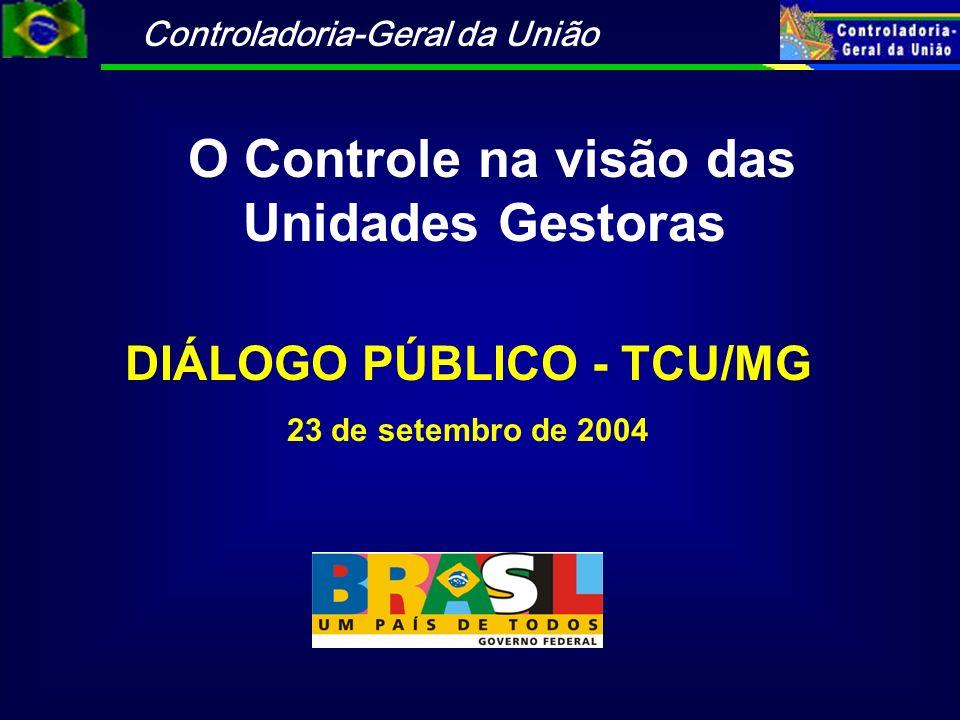 Controladoria-Geral da União DIÁLOGO PÚBLICO - TCU/MG 23 de setembro de 2004 O Controle na visão das Unidades Gestoras