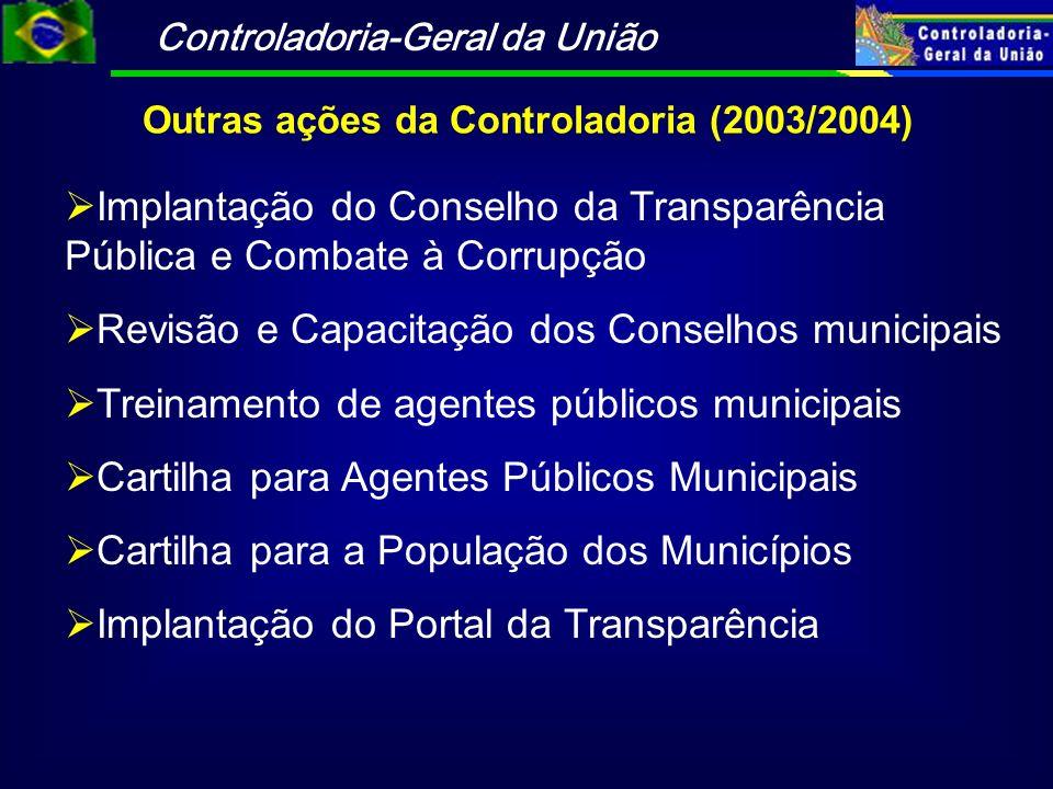 Controladoria-Geral da União Outras ações da Controladoria (2003/2004) Implantação do Conselho da Transparência Pública e Combate à Corrupção Revisão