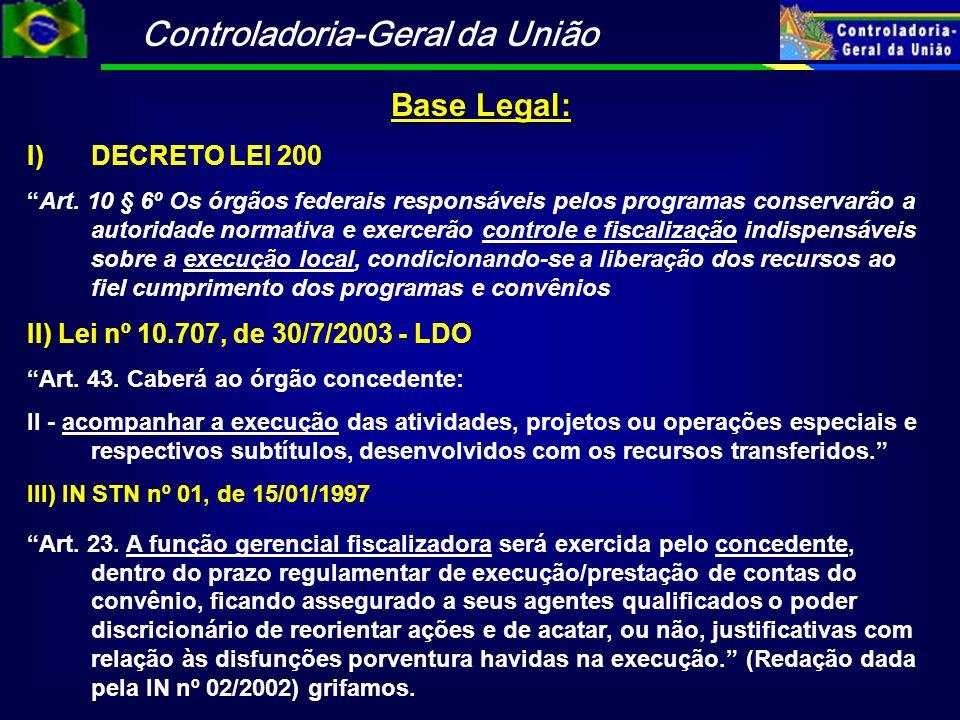 Controladoria-Geral da União Base Legal: I)DECRETO LEI 200 Art. 10 § 6º Os órgãos federais responsáveis pelos programas conservarão a autoridade norma
