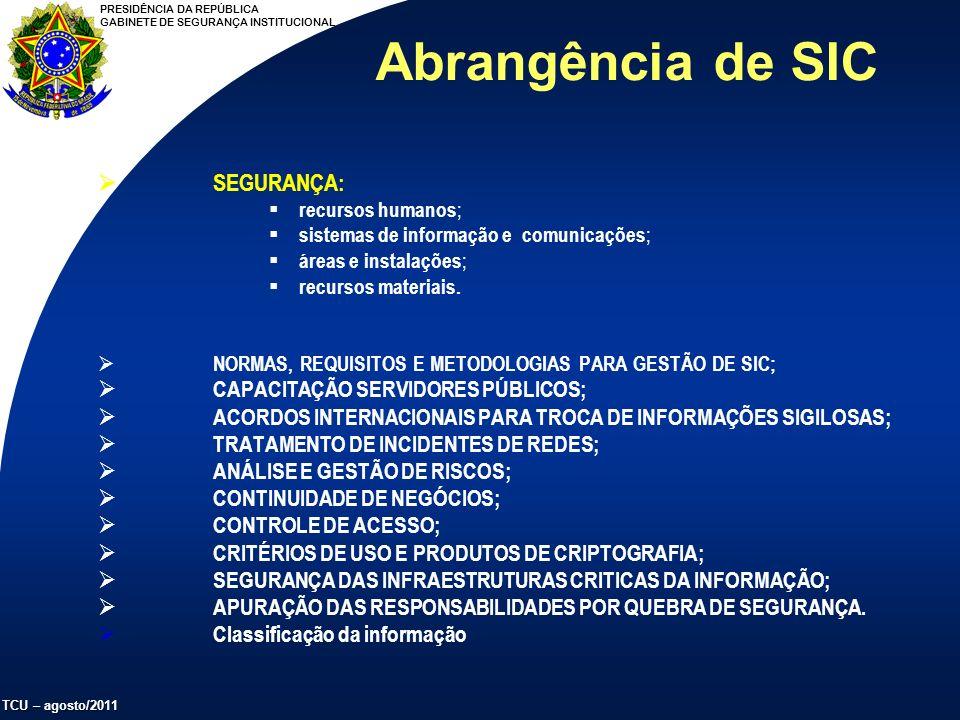 PRESIDÊNCIA DA REPÚBLICA GABINETE DE SEGURANÇA INSTITUCIONAL TCU – agosto/2011 SEGURANÇA: recursos humanos ; sistemas de informação e comunicações ; áreas e instalações ; recursos materiais.