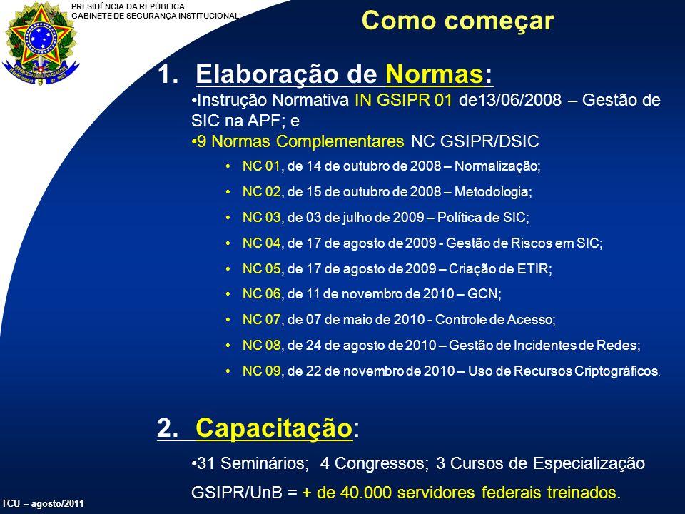 PRESIDÊNCIA DA REPÚBLICA GABINETE DE SEGURANÇA INSTITUCIONAL TCU – agosto/2011 Como começar 1.Elaboração de Normas: Instrução Normativa IN GSIPR 01 de13/06/2008 – Gestão de SIC na APF; e 9 Normas Complementares NC GSIPR/DSIC NC 01, de 14 de outubro de 2008 – Normalização; NC 02, de 15 de outubro de 2008 – Metodologia; NC 03, de 03 de julho de 2009 – Política de SIC; NC 04, de 17 de agosto de 2009 - Gestão de Riscos em SIC; NC 05, de 17 de agosto de 2009 – Criação de ETIR; NC 06, de 11 de novembro de 2010 – GCN; NC 07, de 07 de maio de 2010 - Controle de Acesso; NC 08, de 24 de agosto de 2010 – Gestão de Incidentes de Redes; NC 09, de 22 de novembro de 2010 – Uso de Recursos Criptográficos.