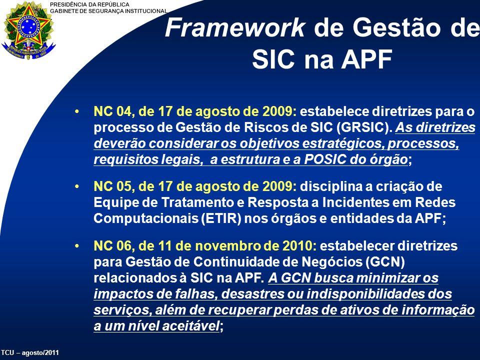 PRESIDÊNCIA DA REPÚBLICA GABINETE DE SEGURANÇA INSTITUCIONAL TCU – agosto/2011 NC 04, de 17 de agosto de 2009: estabelece diretrizes para o processo de Gestão de Riscos de SIC (GRSIC).