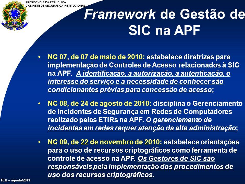 PRESIDÊNCIA DA REPÚBLICA GABINETE DE SEGURANÇA INSTITUCIONAL TCU – agosto/2011 Framework de Gestão de SIC na APF NC 07, de 07 de maio de 2010: estabelece diretrizes para implementação de Controles de Acesso relacionados à SIC na APF.