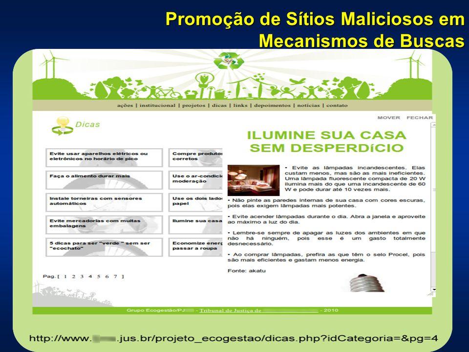 Promoção de Sítios Maliciosos em Mecanismos de Buscas
