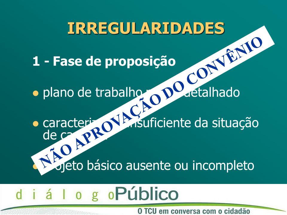 1 - Fase de proposição l plano de trabalho pouco detalhado l caracterização insuficiente da situação de carência l projeto básico ausente ou incomplet